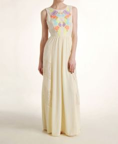 I need this dress! Champagne & Strawberry Neon Floral Embroidered Maxi Dress