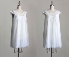 60s Vintage Ivory Chiffon Lace Tent Babydoll Nightie / White Slip Dress / Small / Medium