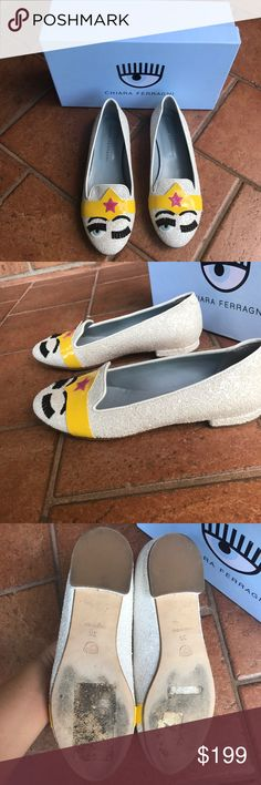 Chiara Ferragni flats Just gently worn once, in good condition, like new Chiara Ferragni Shoes Flats & Loafers