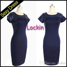 Euro New Shiny Sequins Bodycon Dress Navy Blue Short Sleeve Elegant Celebrity Pencil Dress Knee Length Women Evening Party Work Dresses from Lockin,$7.33 | DHgate.com