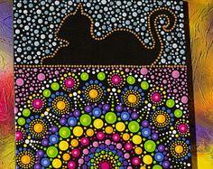 Peint à la main originale Mandala, Art de la Dot, Dot peinture « Cat demi mandala cercle » d'art mural coloré #37. Livraison gratuite