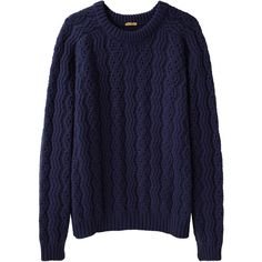 Peter Jensen Chunky Geelong Pullover ($172) ❤ liked on Polyvore featuring tops, sweaters, shirts, jumpers, cable sweater, raglan shirts, cable knit sweater, blue sweater and chunky cable knit sweater