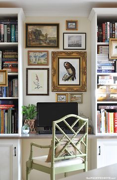 The Painted Hive blogger created this wonderful office space in a little corner of a room.  Love what she did...the Chippendale chair, gallery wall and those built ins!