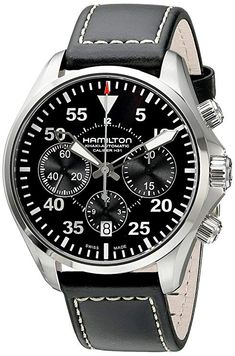 Looking for Hamilton Men's Khaki Aviation Stainless Steel Automatic Watch Black Leather Band ? Check out our picks for the Hamilton Men's Khaki Aviation Stainless Steel Automatic Watch Black Leather Band from the popular stores - all in one. Armani Watches For Men, Vintage Watches For Men, Stylish Watches, Luxury Watches, Cool Watches, Army Watches, Sport Watches, Wrist Watches, Skeleton Watches