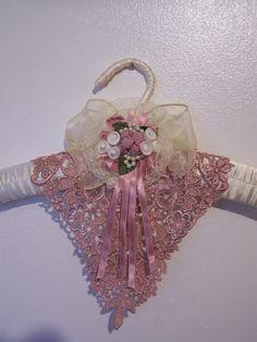 Pink Mauve Victorian-victorian hanger, pink hanger, padded hanger, decorative hanger
