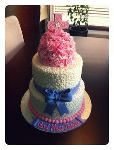 3 Tiered Rose Confirmation cake ~ www.contessascakes.weebly.com Confirmation Cakes, Cake Creations, Cupcakes, Rose, Desserts, Recipes, Wedding, Ideas, Design