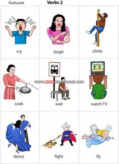 Kids Pages - Flashcards - Verbs 2 Learning English For Kids, English Lessons For Kids, Kids English, English Tips, English Language Learning, Teaching English, Learn English, Education English, English Verbs