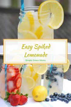 Easy Vodka Spiked Lemonade Recipe #cocktailrecipe #cocktailparty #cocktails #vodka #lemonade #summer #summerfun #drinkrecipes #drinks #fruits via @simplegreenmoms