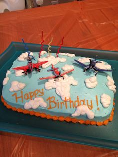 Sammy's 4th birthday, Disney Planes theme sheet cake.