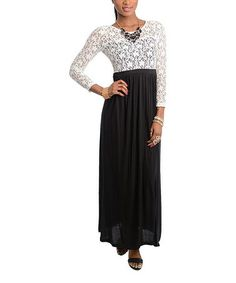 Another great find on #zulily! Black & Ivory Lace Maxi Dress #zulilyfinds