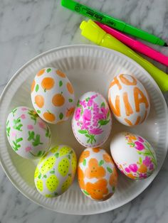 Highlighter pen decorated Easter eggs