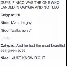 This headcanan of Nico and Calypso fangirling over Percy is all I need in life<<< this beeds to happen. Percy Jackson Ships, Percy Jackson Fan Art, Percy Jackson Memes, Percy Jackson Books, Percy Jackson Fandom, Percy And Nico, Magnus Chase, Solangelo, Heroes Of Olympus