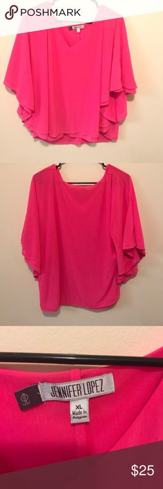 Jennifer Lopez hot pink shirt. Gently used. No stains. Jennifer Lopez Tops Blouses
