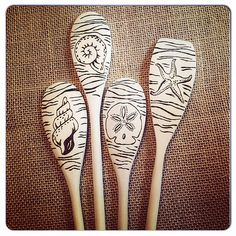 Completed custom order of #woodburnedspoons. #pyrography #ocean #seashells | Flickr - Photo Sharing!