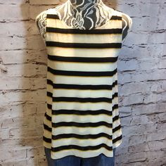 ANN TAYLOR LOFT STRIPED BLOUSE Pretty navy/gold/cream blouse in gently used condition. T-1 LOFT Tops Blouses