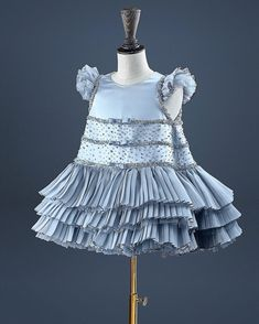 Amazing silver satin dress with handmade embroidery by Bibiona #embroidery #babydress #childcouture #atelier
