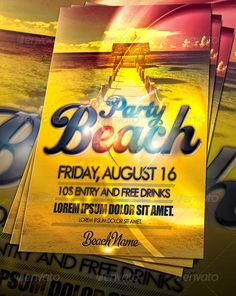 Amazing Beach Party Flyer — Photoshop PSD #event #colorful • Available here → https://graphicriver.net/item/amazing-beach-party-flyer/255637?ref=pxcr