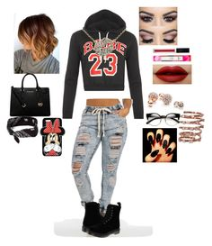 """""""LAST DAY OF THANKSGIVING BREAK BE LIKE......"""" by aquariusk ❤ liked on Polyvore featuring WearAll, Dr. Martens, MICHAEL Michael Kors, claire's, Forever 21, Plukka and GUESS"""