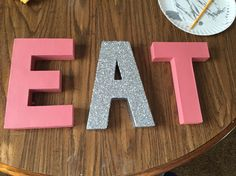 My painted letters for my kitchen/ over my stove! ❤️ (M.T.E) #diy #diykitchenletters #EAT #handpainted #craftsbymorganMTE #diywordletters