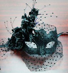 Masquerade Flower Mask Black