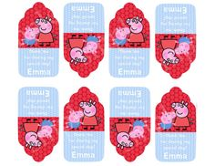 PEPPA and GEORGE Thank You Tags -Goodie Bag Tags -  PERSONALIZED Birthday Party. $5.00, via Etsy.