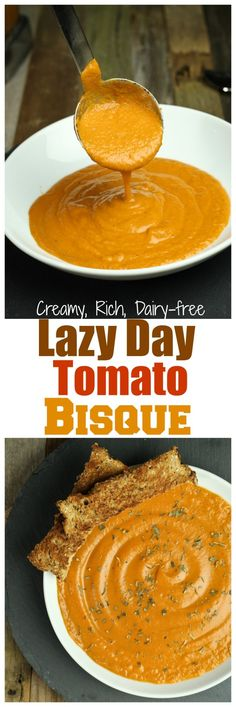 The BEST tomato soup out there! Delicious, creamy, rich tomato bisque that is dairy-free, oil-free and comes together in less than an hour!
