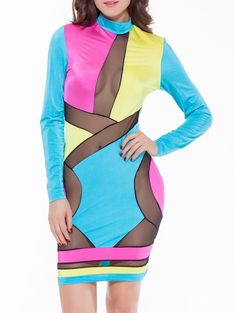 Colorful Patchwork Mesh See-Through Bodycon Dress Cheap Party Dresses, Club Party Dresses, Blue Party Dress, Sexy Party Dress, Sexy Outfits, Dress For You, Bodycon Dress, Mesh Panel, Fashion Design