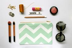 A cute chevron pouch in mint, yellow or black! Has a lovely brass zip and is lined for a luxurious feel. Screen Printing, Chevron, Sunglasses Case, Mint, Yellow, Etsy, Black, Cape Town, Pouches