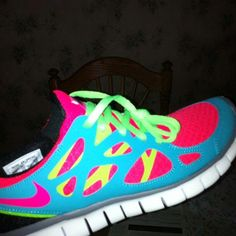cheap for discount dc714 d9cf4 These neon nike free runs are sure to go with any workout outfit. Plus I  think they would make me run faster sooo mom I need these!