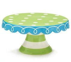 Hand painted lime and blue ceramic cake plate.