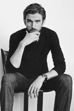 dan stevens and black and white image