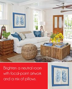 I love this idea to paint a frame of color on a neutral wall to highlight artwork and give it more impact.  from CHIC COASTAL LIVING