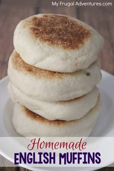 Here is something delicious to make for a special breakfast, brunch or add some jam for a perfect homemade gift!  Homemade English Muffins- soft on the inside and crispy on the outside.  Perfect slathered in butter or use these for delicious breakfast sandwiches!