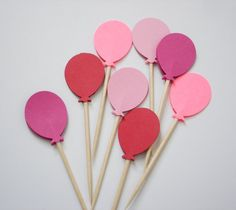 24 Decorative Pink Red Balloon Party Picks Food by BelowBlink, $3.50