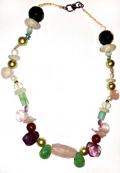 """VINTAGE OOAK SEMI-PRECIOUS GEMS AND PEARL NECKLACE~17""""-MULTI COLORS-SHAPES #Unbranded #StrandString"""