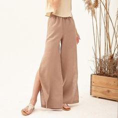 Womens Linen Clothing, Linen Pants Women, Flax Clothing, Linen Beach Pants, Wide Leg Linen Pants, Linen Trousers, Side Slit Pants, Linen Blouse, Stylish Outfits