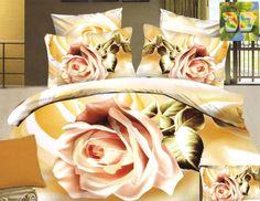 Pościel bawełniana żółta w kremowe róże