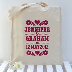 Custom Design Wedding Bag by Alexandra Snowdon, via Flickr Wedding Bag, Typo, Printmaking, Custom Design, Reusable Tote Bags, My Love, Prints, Products, Wedding Remembrance