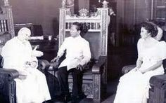 Pope John Paul meeting President Ferdinand Marcos and Imelda Marcos President of the Philippines