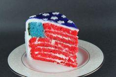 Slice of American Flag Cake... making the inside of the cake like ...
