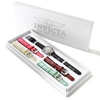 STSTL WTCH INVICTA WOMEN'S BABY LUPAH QUARTZ GENUINE LEATHER STRAP SET