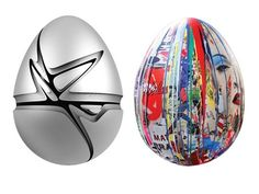 giant egg sculptures by Zaha Hadid and Mr. Brainwash, two of 209 giant eggs placed high and low across central London, part of The Big Egg Hunt presented by Fabergé