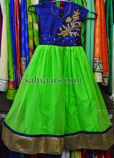 Green Blue Frock With Work - Indian Dresses Baby Girl Dress Patterns, Little Girl Dresses, Girls Dresses, Baby Dresses, Kids Dress Wear, Kids Gown, Kids Wear, Kids Indian Wear, Kids Ethnic Wear