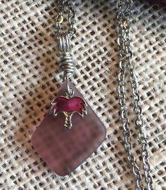 "Palm Tree Purple Sea Glass Jewelry Necklace 24"" Stainless Chain Abalone Gift Box  | eBay"