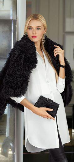 Ralph Lauren Black Label's Modern Holiday: enjoy the season in sleek separates like this luxurious tunic crafted from ultra-soft silk.  Via @ralphlauren. #whiteshirt #RalphLauren