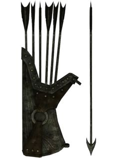 Orcish Quiver and Arrows Skyrim Arrows, Bow Drawing, Blacksmith Shop, Arm Armor, Fantasy Weapons, Medieval Fantasy, Elder Scrolls, Illustration, Character Design