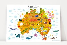 Are you looking for a perfect interactive map of Australia for kids to decorate nursery, playroom, or a classroom? One-of-a-kind modern Australia map for kids poster makes a perfect gift for kids. World Map Canvas, World Map Wall, Map Wall Art, Art Mural, Nursery Wall Art, Nursery Decor, Themed Nursery, Australia Map, Australia For Kids