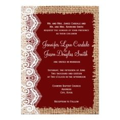 Rustic Burlap Lace Dark Purple Wedding Invitations for a vintage country style wedding. Choose from rounded or square corners. Smooth Basic Paper or Premium Textured Paper. OFF when you order Invites. Dark Purple Wedding, Maroon Wedding, Gold Wedding, Country Wedding Invitations, Rustic Invitations, Invitation Wording, Invitation Ideas, Invitation Templates, Wedding Stationery