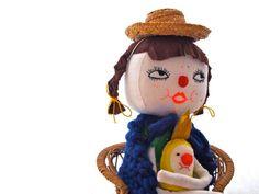 SUMMER SALE Cloth art doll display white linen green felt yellow bird Bridgette and Clemence via Etsy