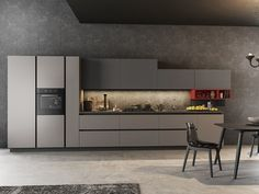 Download the catalogue and request prices of Time By arredo 3, fitted kitchen with integrated handles